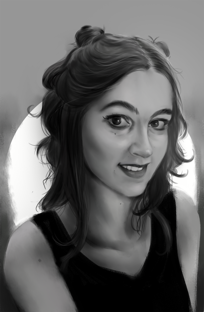 A black and white drawing of Hellie Heat